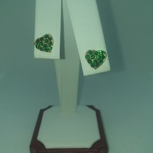 Green Rhinestone Heart Earrings, Screwback Gold